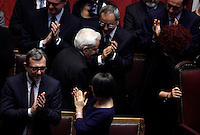 Il nuovo Presidente della Repubblica Sergio Mattarella tiene il giuramento durante una cerimonia alla Camera dei Deputati, Roma, 3 febbraio 2015.<br /> Italian newly elected President Sergio Mattarella arrives for the swearing ceremony at the Lower Chamber in Rome, 3 February 2015.<br /> UPDATE IMAGES PRESS/Isabella Bonotto