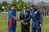 Issued by Cricket Scotland - Scotland V Afghanistan 2nd One Day International - Grange CC - captains Gulbadin Niab and Kyle Coetzer at the toss - picture by Donald MacLeod - 10.05.19 - 07702 319 738 - clanmacleod@btinternet.com - www.donald-macleod.com