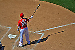 16 June 2012: Washington Nationals' first baseman Adam LaRoche pinch hits against the New York Yankees at Nationals Park in Washington, DC. The Yankees defeated the Nationals in 14 innings by a score of 5-3, taking the second game of their 3-game series. Mandatory Credit: Ed Wolfstein Photo