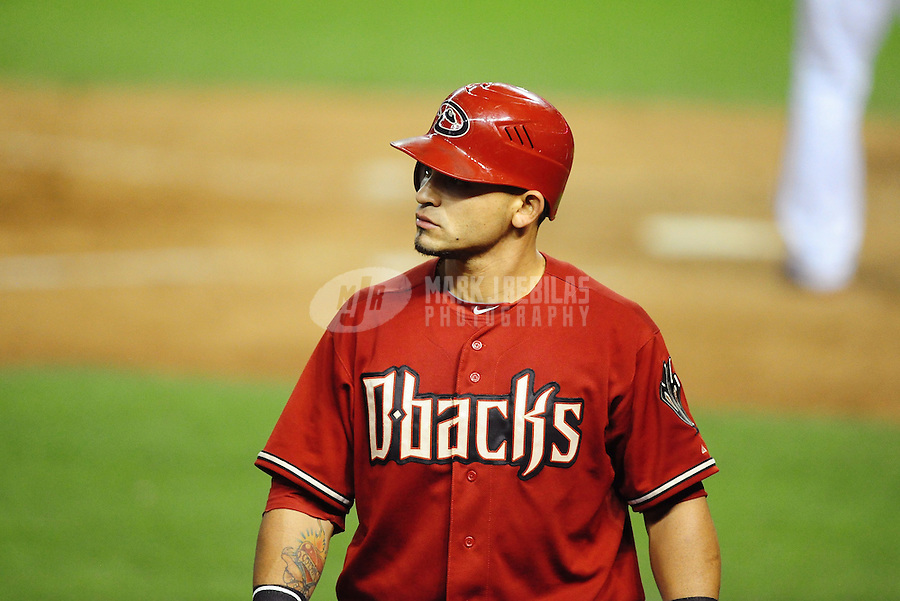 May 9, 2012; Phoenix, AZ, USA; Arizona Diamondbacks outfielder Gerardo Parra during game against the St. Louis Cardinals at Chase Field. The Cardinals defeated the Diamondbacks 7-2. Mandatory Credit: Mark J. Rebilas-
