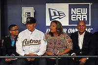 Shortstop Carlos Correa (Puerto Rico Baseball Academy) the number one overall pick to the Houston Astros with his family during the MLB Draft on Monday June 04,2012 at Studio 42 in Secaucus, NJ.  Photo By Tomasso DeRosa/ Four Seam Images