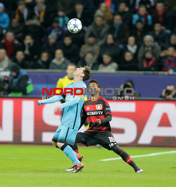 Championsleague , Bayer 04 Leverkusen vs. FC Barcelona<br /> Lionel Andr&radic;&copy;s Messi (Barcelona),Wendell (Leverkusen)<br /> <br /> Foto &not;&copy; nordphoto /  Bratic *** Local Caption ***