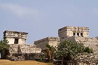 El Castillo and Temple of the Descending God, Tulum,Riviera Maya, Quintana Roo, Mexico.