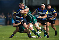 Tom Dunn of Bath Rugby is double-tackled. Aviva Premiership match, between Bath Rugby and London Irish on May 5, 2018 at the Recreation Ground in Bath, England. Photo by: Patrick Khachfe / Onside Images