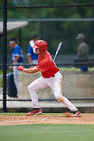 GCL Phillies East first baseman Jack Zoellner (27) follows through on a swing during a game against the GCL Blue Jays on August 10, 2018 at Carpenter Complex in Clearwater, Florida.  GCL Blue Jays defeated GCL Phillies East 8-3.  (Mike Janes/Four Seam Images)