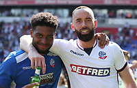 Bolton Wanderers Mark Little  and Aaron Wilbraham celebrating at the end of todays match<br /> <br /> Photographer Rachel Holborn/CameraSport<br /> <br /> The EFL Sky Bet Championship - Bolton Wanderers v Nottingham Forest - Sunday 6th May 2018 - Macron Stadium - Bolton<br /> <br /> World Copyright &copy; 2018 CameraSport. All rights reserved. 43 Linden Ave. Countesthorpe. Leicester. England. LE8 5PG - Tel: +44 (0) 116 277 4147 - admin@camerasport.com - www.camerasport.com