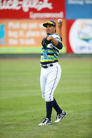 Eugene Helder (9) of the Everett AquaSox throws before a game against the Boise Hawks at Everett Memorial Stadium on July 21, 2017 in Everett, Washington. Boise defeated Everett, 10-4. (Larry Goren/Four Seam Images)