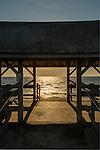 Knollwood Beach area bench, Route 154, Old Saybrook, CT. Long Island Sound. Beach Pavillion.