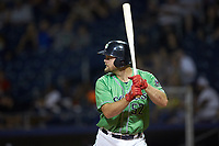 Lucas Duda (52) of the Gwinnett Stripers at bat against the Scranton/Wilkes-Barre RailRiders at BB&T BallPark on August 16, 2019 in Lawrenceville, Georgia. The Stripers defeated the RailRiders 5-2. (Brian Westerholt/Four Seam Images)