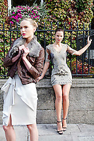 30/9/2010. Karen Millen Autumn Winter 2010 Christmas collection. Model Baiba is pictured wearing a black/gold brocade dress EUR250 and chain platform shoe EUR199 and Sarah wears silver metallic lurex dress EUR235, Tan leather and fur jacket EUR499 and nudge cadge sandal EUR160 at a sneak preview of the Karen Millen Autumn Winter 2010 Christmas collection in Dublin. Picture James Horan/Collins Photos