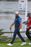 Dustin Johnson (USA) heads down 7 during round 2 of the 2019 US Open, Pebble Beach Golf Links, Monterrey, California, USA. 6/14/2019.<br /> Picture: Golffile | Ken Murray<br /> <br /> All photo usage must carry mandatory copyright credit (© Golffile | Ken Murray)