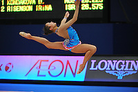 September 8, 2009; Mie, Japan;  Aliya Garayeva of Azerbaijan stag leaps during qualification round at 2009 World Championships Mie.  Photo by Tom Theobald.
