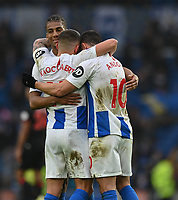 Team members show their emotion of the Brighton win with winning goal scorer Brighton & Hove Albion's Florin Andone (right) <br /> <br /> Photographer David Horton/CameraSport<br /> <br /> The Premier League - Brighton and Hove Albion v Huddersfield Town - Saturday 2nd March 2019 - The Amex Stadium - Brighton<br /> <br /> World Copyright © 2019 CameraSport. All rights reserved. 43 Linden Ave. Countesthorpe. Leicester. England. LE8 5PG - Tel: +44 (0) 116 277 4147 - admin@camerasport.com - www.camerasport.com
