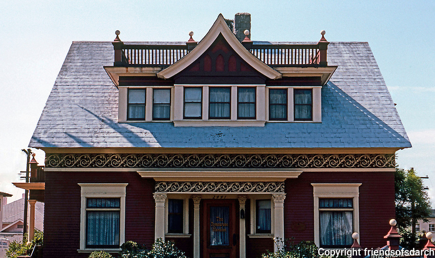 "San Diego: Rynearson House, 2441 E Street, 1897. ""Potpouri of Tudor, Queen Anne and Colonial Revival...Sullivanesque""  Photo '82."
