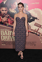 """14 June 2017 - Los Angeles, California - Lily James. Los Angeles Premiere of """"Baby Driver"""" held at the Ace Hotel Downtown in Los Angeles. Photo Credit: Birdie Thompson/AdMedia"""