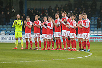 Fleetwood Town players during a minutes applause for Jimmy Armfield ahead of the Sky Bet League 1 match between Gillingham and Fleetwood Town at the MEMS Priestfield Stadium, Gillingham, England on 27 January 2018. Photo by David Horn.