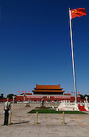 An honour guard and the Chinese five star flag in front of Tiananment Gate, Tiananmen Square Beijing, China. It is one of China's most important historical and cultural tourist sites in the Chinese capital....16 Sep 05