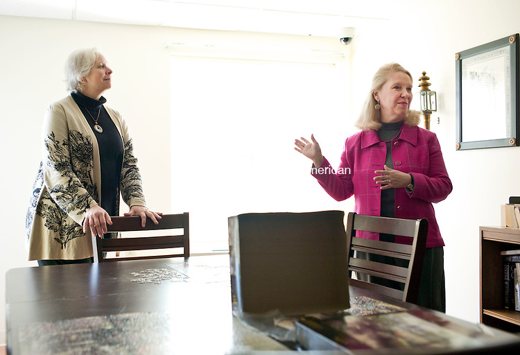 Winsted, CT- 11 January 2016-011116CM01- Deirdre Houlihan DiCara, right, executive director at FISH in Torrington, talks about a hobby room inside Susan M. B. Perry Senior Housing complex in Winsted on Monday.  On the left is Julie Scharnberg with the Community Foundation of Northwest Connecticut.   The Susan M. B. Perry Senior Housing complex unveiled and dedicated its new generator, which was made possible through the Draper Foundation at the Northwest CT Community Foundation and individual donors. Susan M. B. Perry Senior Housing is a 20-unit, low income senior housing project that opened in December of 2008 by the Northwest Senior Housing Corporation. It is located on the campus of the Winsted Health Center Foundation.      Christopher Massa Republican-American