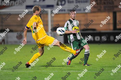 2012-09-15 / Voetbal / seizoen 2012-2013 / Racing Mechelen - Wetteren / Benoit Sotteau (RCM) zet voor..Foto: Mpics.be
