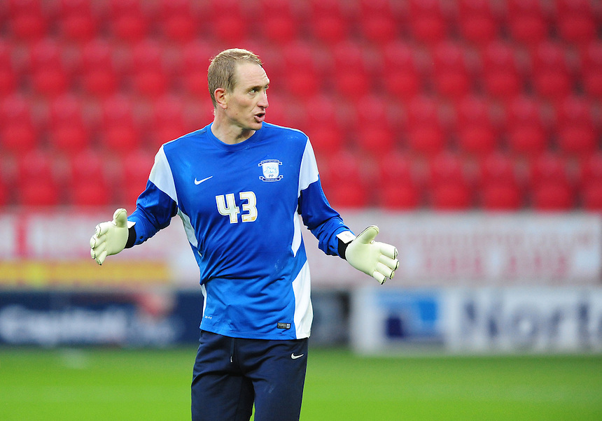 Preston North End&rsquo;s Chris Kirkland during the pre-match warm-up <br /> <br /> Photographer Chris Vaughan/CameraSport<br /> <br /> Football - The Football League Sky Bet Championship - Rotherham United v Preston North End - Tuesday 18th August 2015 - New York Stadium - Rotherham<br /> <br /> &copy; CameraSport - 43 Linden Ave. Countesthorpe. Leicester. England. LE8 5PG - Tel: +44 (0) 116 277 4147 - admin@camerasport.com - www.camerasport.com