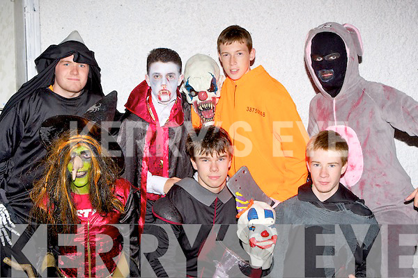 Spooky friends l-r: Shane McKenna, Tadhg McCarthy, Seamus Looney, Back row: Dylan Harris, Cian Moore, Rius Walsh and Jack Kerley  at the Knocknagoshel Halloween festival on Sunday night