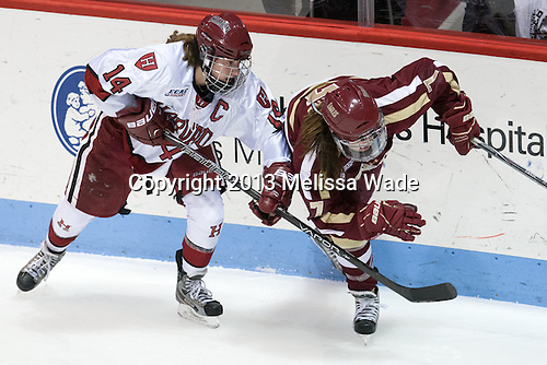 Jillian Dempsey (Harvard - 14), Dru Burns (BC - 7) - The Boston College Eagles defeated the Harvard University Crimson 2-1 in the opening game of the 2013 Beanpot on Tuesday, February 5, 2013, at Matthews Arena in Boston, Massachusetts.