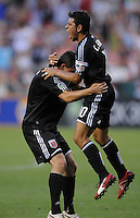 DC United forward midfielder Chirstian Gomez (10) celebrates his goal in the 41th minute of the game.  DC United defeated the Chicago Fire 2-1  at  RFK Stadium, Saturday June 13, 2009.