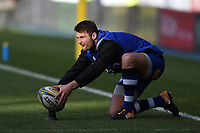 Josh Lewis of Bath Rugby lines the ball up for a kick during the pre-match warm-up. Aviva Premiership match, between London Irish and Bath Rugby on November 19, 2017 at the Madejski Stadium in Reading, England. Photo by: Patrick Khachfe / Onside Images