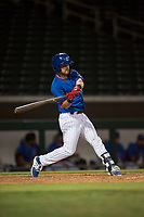 AZL Cubs 2 designated hitter Levi Jordan (4) swings at a pitch during an Arizona League game against the AZL Rangers at Sloan Park on July 7, 2018 in Mesa, Arizona. AZL Rangers defeated AZL Cubs 2 11-2. (Zachary Lucy/Four Seam Images)