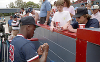 Boston Red Sox Jeff McNeely signs autographs during spring training circa 1992 at Chain of Lakes Park in Winter Haven, Florida.  (MJA/Four Seam Images)