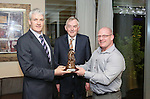 Pictured at the Limerick Sports Partnership Sports Awards were: Winner Shane Brodie presented by Phelim Macken and UL President Donn Barry<br /> Picture  Credit Brian Gavin Press 22