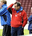 05/04/2008    Copyright Pic: James Stewart.File Name : sct_jspa13_gretna_v_inverness.MICK WADSWORTH CAN'T BEAR TO WATCH....James Stewart Photo Agency 19 Carronlea Drive, Falkirk. FK2 8DN      Vat Reg No. 607 6932 25.Studio      : +44 (0)1324 611191 .Mobile      : +44 (0)7721 416997.E-mail  :  jim@jspa.co.uk.If you require further information then contact Jim Stewart on any of the numbers above........