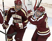 Alex Carpenter (BC - 5),Melissa Bizzari (BC - 4) - The Northeastern University Huskies defeated Boston College Eagles 4-3 to repeat as Beanpot champions on Tuesday, February 12, 2013, at Matthews Arena in Boston, Massachusetts.