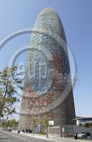 Barcelona-Spain - 18 April 2006---Torre Agbar (Agbar Tower), an office building-complex designed by Jean Nouvel, hosting the water company of Barcelona---architecture---Photo: Horst Wagner / eup-images