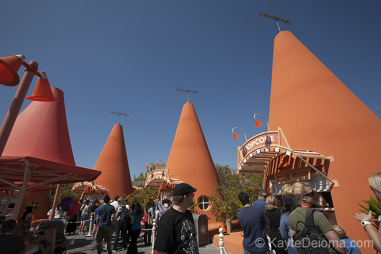 The Cozy Cone Motel snack bar in Cars Land at Disney California Adventure Park at the Disneyland Resort in Anaheim, CA