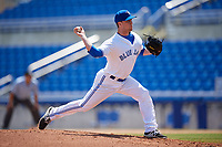 Dunedin Blue Jays relief pitcher Jonathan Cheshire (33) delivers a pitch during a game against the Daytona Tortugas on April 22, 2018 at Dunedin Stadium in Dunedin, Florida.  Daytona defeated Dunedin 5-1.  (Mike Janes/Four Seam Images)
