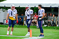 August 7, 2017: New England Patriots wide receiver Julian Edelman (11), wide receiver Brandon Cooks (14) and New England Patriots wide receiver Chris Hogan (15) (L to R) wait for their turn to drill during a joint practice at New England Patriots training camp where they hosted the Jacksonville Jaguars on the practice fields at Gillette Stadium, in Foxborough, Massachusetts. Eric Canha/CSM