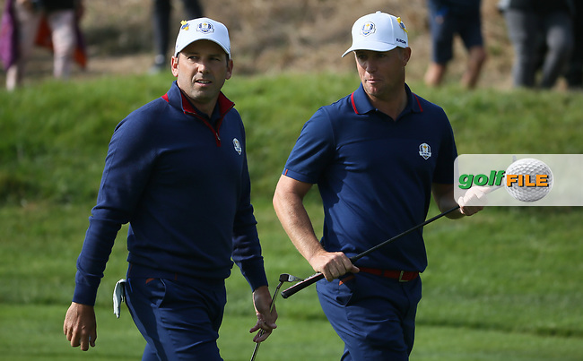 Sergio Garcia (Team Europe) holes out on the 7th during Friday's Foursomes, at the Ryder Cup, Le Golf National, Île-de-France, France. 28/09/2018.<br /> Picture David Lloyd / Golffile.ie<br /> <br /> All photo usage must carry mandatory copyright credit (© Golffile   David Lloyd)