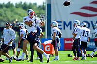 July 28, 2017: New England Patriots tight end Rob Gronkowski (87) makes a catch at the New England Patriots training camp held at Gillette Stadium, in Foxborough, Massachusetts. Eric Canha/CSM