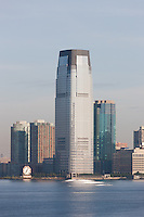 The Goldman Sachs Tower and Colgate-Palmolive clock in Jersey City, New Jersey, overlooking the Hudson River.