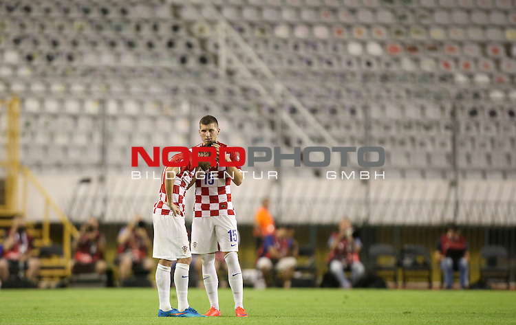 12.06.2015., Croatia, stadium Poljud, Split - Qualifying match for the European Championship to be held in 2016 in France, Group H, Round 6, Croatia - Italy. Darijo Srna, Ante Rebic.<br />  <br /> Foto &copy;  nph / PIXSELL / Igor Kralj;
