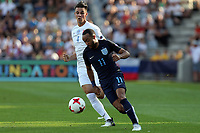 Nathan Redmond of England and Martin Valjent of Slovakia during Slovakia Under-21 vs England Under-21, UEFA European Under-21 Championship Football at The Kolporter Arena on 19th June 2017