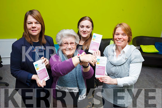 North, East and West Kerry Development (NEWKD) have launched their Seniors Alert Scheme. Pictured were: Dympna O'Carroll (RSS Supervisor), Ena Bunyan, Siobhan Clarke (SAS Adminastrator), Anita Bodenham (RSS Supervisor).