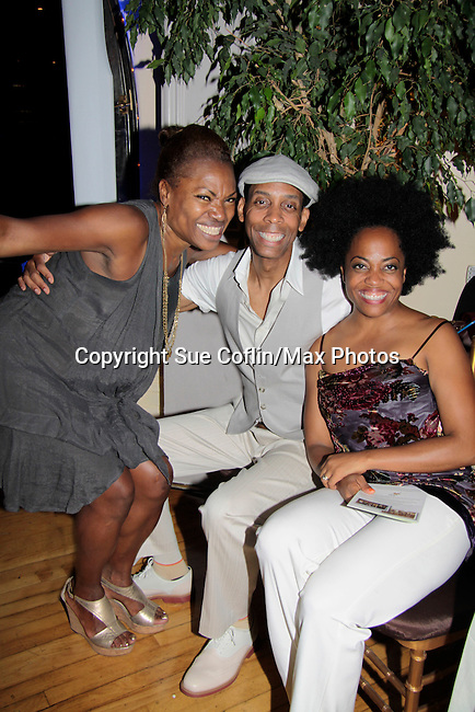 Founder Deborah Koenigsberger poses with Terrence Eldridge and Another World Rhonda Ross who sings at Hearts of Gold - 45 A Different Kind of Fund Raiser on July 10, 2014 at Manhattan Penthouse, New York City, New Yor (Photo by Sue Coflin/Max Photos)