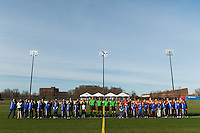 Sky Blue FC and the Western New York Flash  during pre game introductions. Sky Blue FC defeated the Western New York Flash 1-0 during a National Women's Soccer League (NWSL) match at Yurcak Field in Piscataway, NJ, on April 14, 2013.