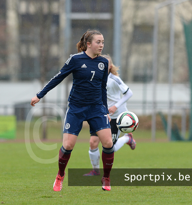20150404 - FORST , GERMANY  : Scottish Claire Williamson pictured during the soccer match between Women Under 19 teams of Germany and Scotland , on the first matchday in group 5 of the UEFA Elite Round Women Under 19 at WaldseeStadion , Forst , Germany . Saturday 4th April 2015 . PHOTO DAVID CATRY