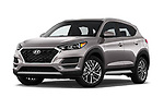 Stock pictures of low aggressive front three quarter view of a 2019 Hyundai Tucson SEL 5 Door SUV