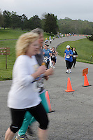Women of all ages compete in the 2008 Kansas City Corporate Challenge for medals and points for their companies. The 5k race was held at Shawnee Mission Park in Shawnee, KS on May 10, 2008.