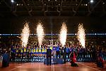 24.02.2019, SAP Arena, Mannheim<br /> Volleyball, DVV-Pokal Finale, Siegerehrung<br /> <br /> Pokalsieger 2019 - SSC Palmberg Schwerin (Frauen) / VfB Friedrichshafen (MŠnner) - PokalŸbergabe an Jennifer Geerties (#6 Schwerin) und Markus Steuerwald (#13 Friedrichshafen) / Pyro<br /> <br />   Foto © nordphoto / Kurth