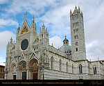 Gothic Facade 1284-1317, Romanesque Bell Tower 1313, Cathedral of Siena, Santa Maria Assunta, Siena, Italy